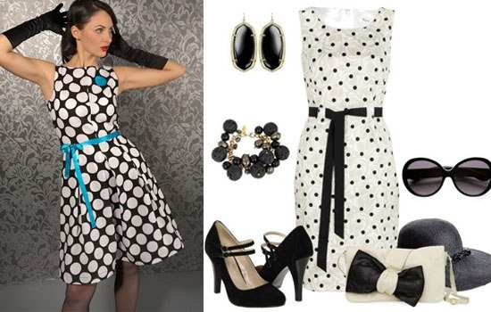 Аксессуары для платья в горошек